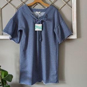 Umgee  lace up blue sweatshirt dress / tunic